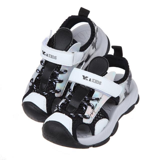 【布布童鞋】黑灰色兒童透氣運動護趾涼鞋(L1B73BJ)