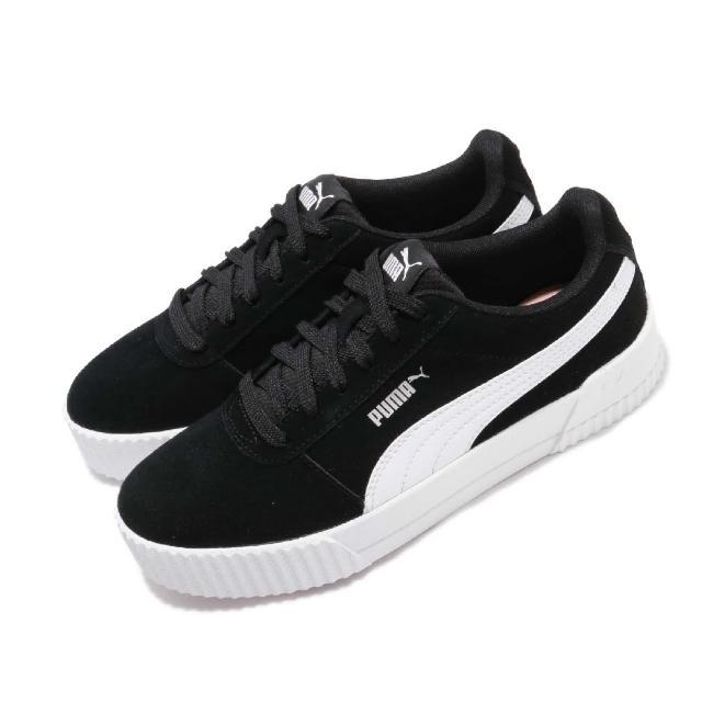 【PUMA】Puma 休閒鞋 Carina 女鞋 基本款 簡約 麂皮 質感 球鞋 黑 白(36986401)