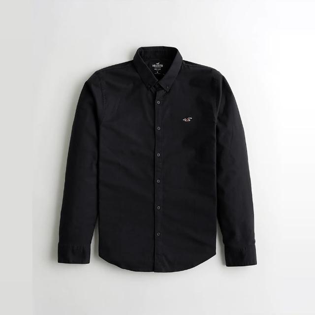 【HOLLISTER Co】Hollister 海鷗 經典刺繡海鷗長袖襯衫-黑色