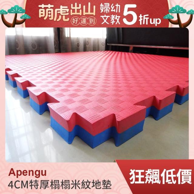 【Apengu】居家防護加大特厚104.5*104.5*4CM榻榻米紋紅藍雙色巧拼地墊(2片裝-適用0.7坪)