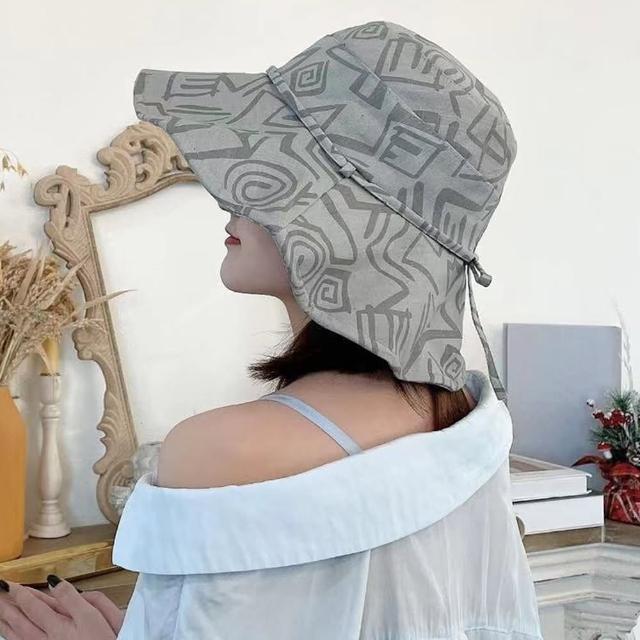 【JC Collection】韓國舒適棉質幾何圖形遮陽大沿帽(卡其、灰)