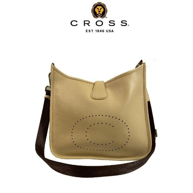 【CROSS】頂級NAPPA小牛皮荔枝紋牛皮鏤空洞洞C LOGO側肩包(米黃色)