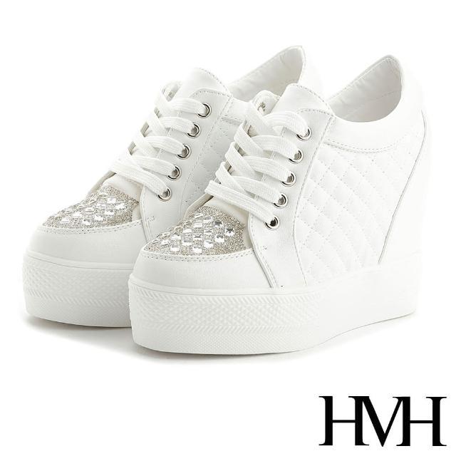 【HMH】時尚璀璨方晶美鑽菱格紋時尚厚底內增高美腿休閒鞋(白)