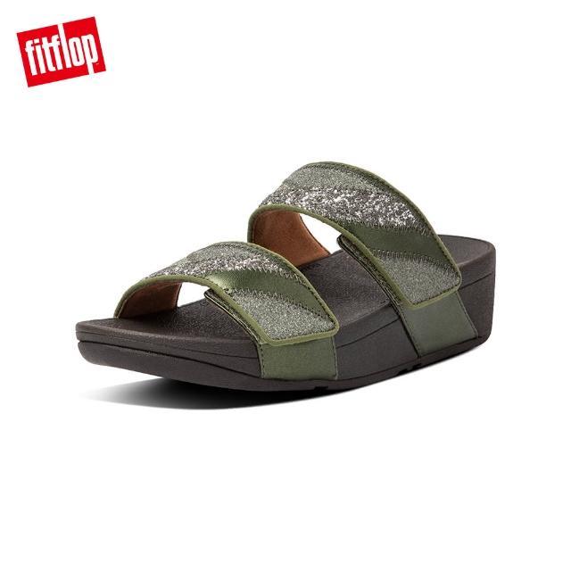 【FitFlop】MINA OMBRE GLITTER SLIDES 經典雙帶涼鞋-女(橄欖綠)