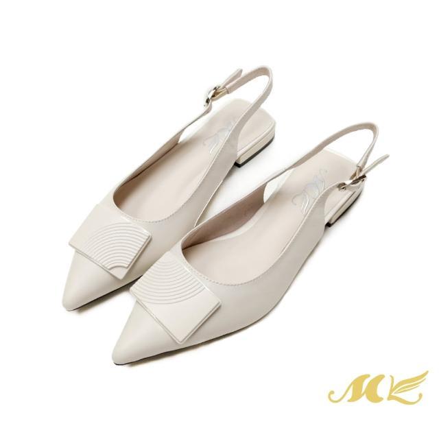【SM】簡約真皮後繞帶尖頭低跟鞋(米白色)