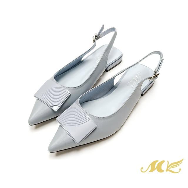 【SM】簡約真皮後繞帶尖頭低跟鞋(灰藍色)