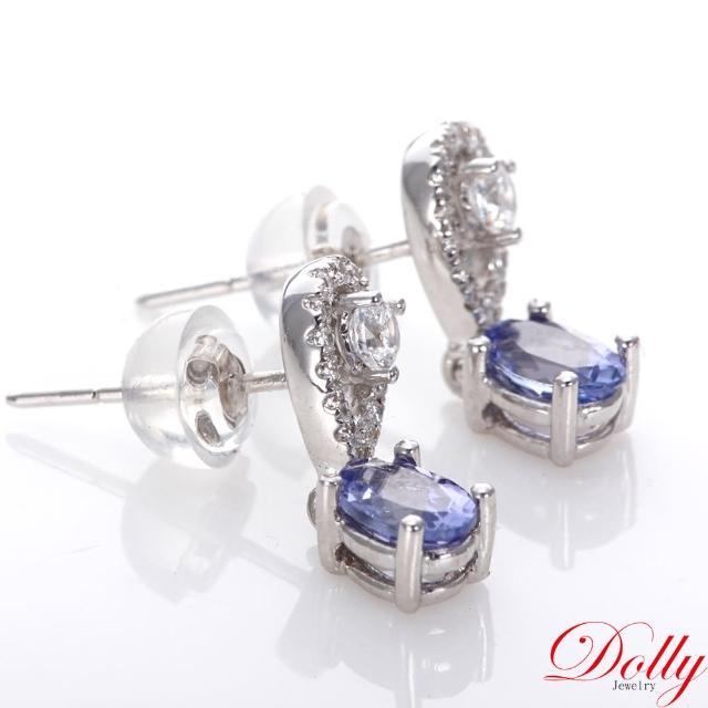 【DOLLY】天然丹泉石 白K金鑽石耳環