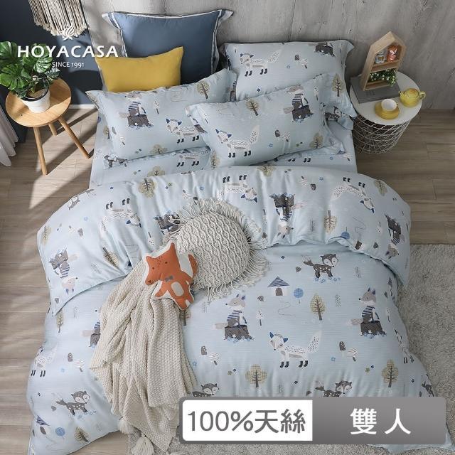 【HOYACASA】100%抗菌天絲兩用被床包組-森林奇遇(雙人)