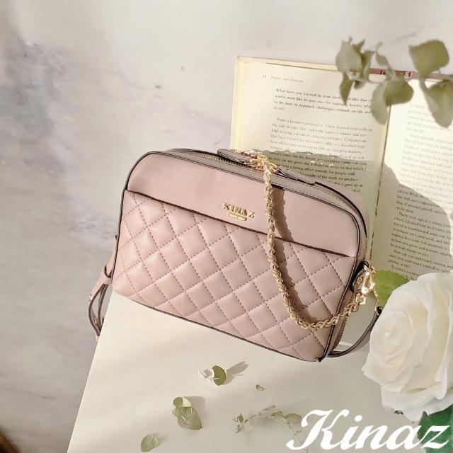 【KINAZ】菱格鏈帶附背帶手提斜背貨幣包-玫瑰奶霜-鋼琴進行曲系列