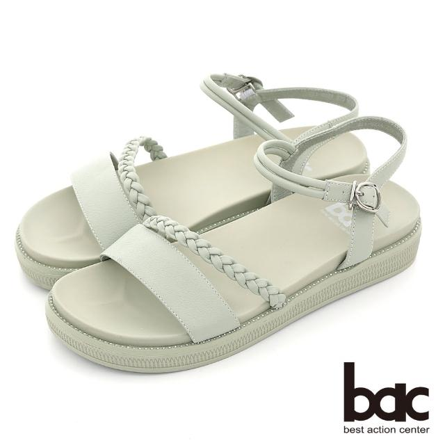 【bac】小清新一字帶編織厚底涼鞋(綠色)