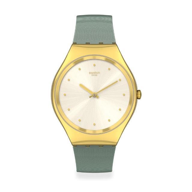 【SWATCH】Skin Irony 超薄金屬系列手錶GREEN MOIRE 綠色波光(38mm)