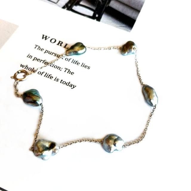 【Eli Jewelry】義大利進口正14黃K金 貴氣大溪地南洋珍珠14K黃金黑珍珠白金手鍊(附金飾保證卡 重0.20錢)