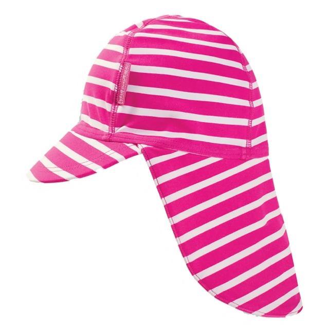 【JoJo Maman BeBe】嬰幼兒/兒童泳裝戲水UPF50+防曬護頸遮陽帽_桃紅條紋(JJE5556)