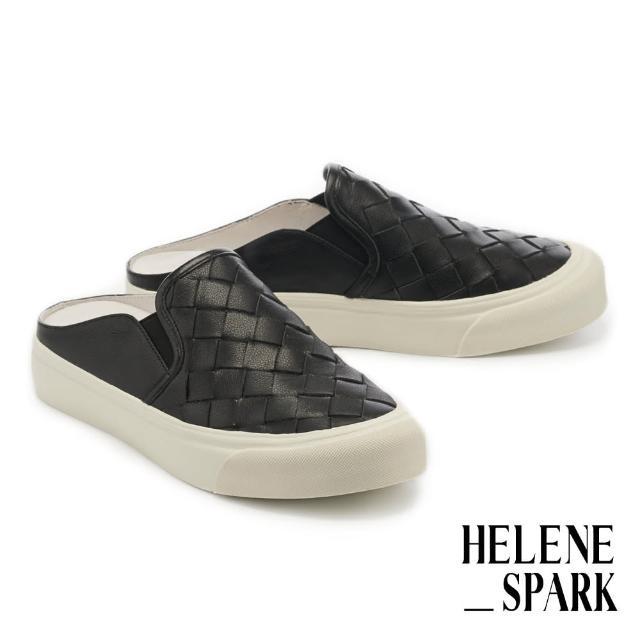 【HELENE SPARK】率性日常全真皮編織厚底休閒拖鞋(黑)