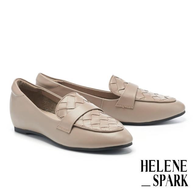 【HELENE SPARK】率性日常全真皮編織內增高樂福低跟鞋(灰)