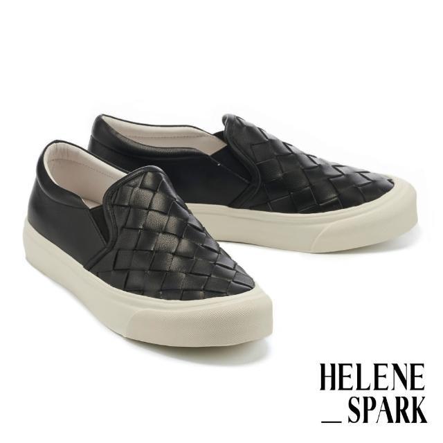 【HELENE SPARK】率性日常全真皮編織厚底休閒鞋(黑)