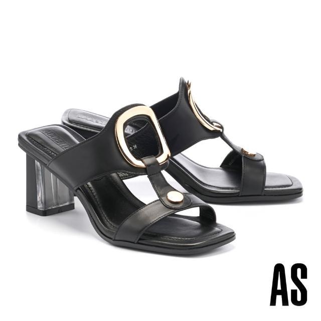 【AS 集團】時髦金屬風鏤空圓釦工字全真皮方頭高跟拖鞋(黑)