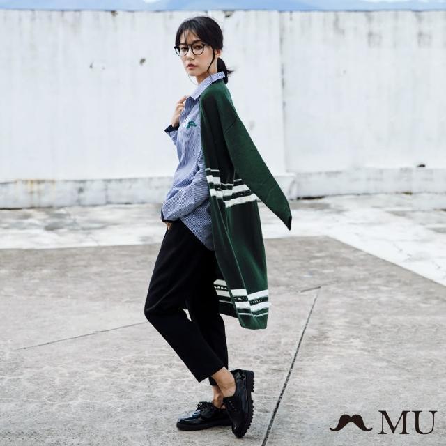 maru.a【maru.a】MU 前打折文字刺繡長褲(黑色)