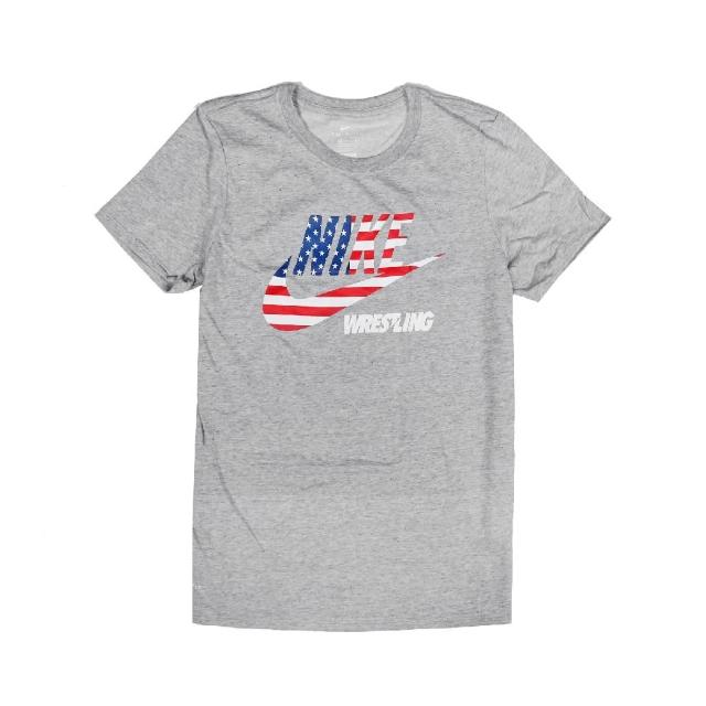【NIKE 耐吉】T恤 Wrestling Tee 美國國旗 女款 運動休閒 吸濕排汗 DRI-FIT 圓領 灰 紅(561423091W-RUS)