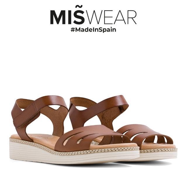 【MISWEAR】Miswear 真皮鏤空黏貼厚底涼鞋-棕
