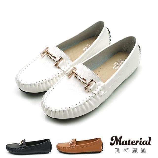 【MATERIAL】豆豆鞋 H金釦飾豆豆鞋 MA女鞋 T58823(豆豆鞋)