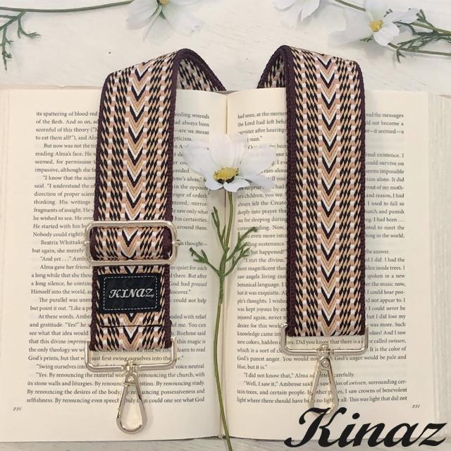 【KINAZ】加寬異國織紋品牌質感寬版背帶-檀木黃-帶我走系列