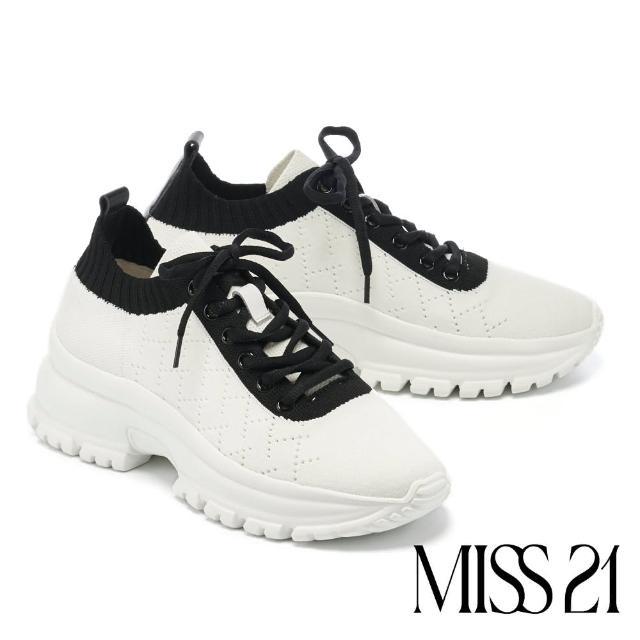 【MISS 21】菱格飛織布縮口鋸齒綁帶厚底休閒鞋(白)