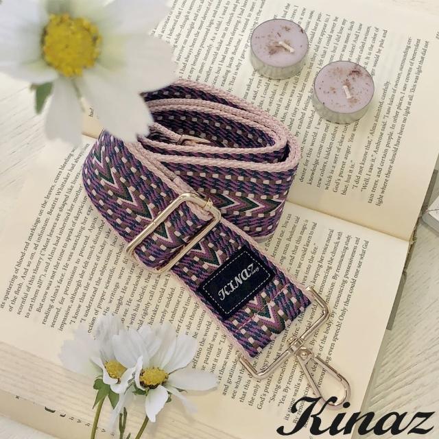 【KINAZ】加寬異國織紋品牌質感寬版背帶-紗麗粉-帶我走系列