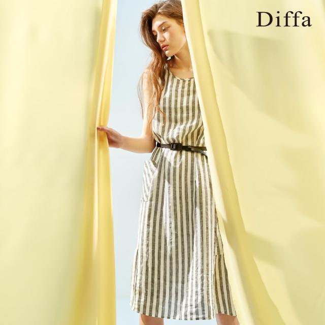 Diffa【Diffa】寬條純麻無袖洋裝-女
