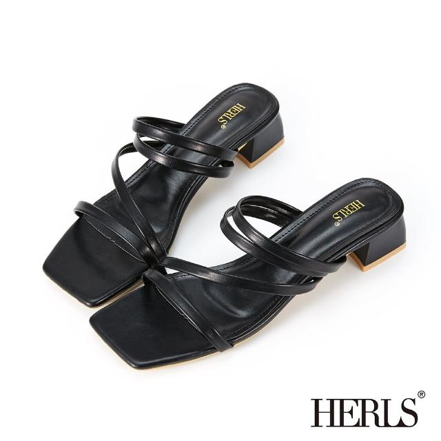【HERLS】涼鞋-Z字細帶粗跟涼拖鞋(黑色)