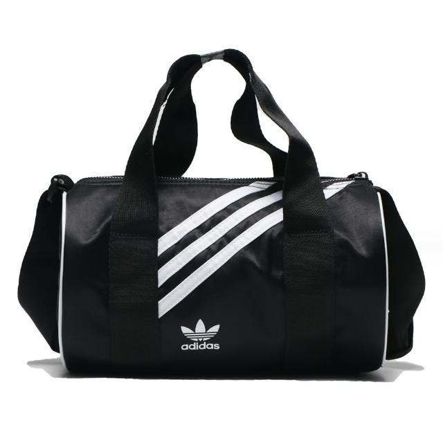 【adidas 愛迪達】手提包 黑 尼龍 迷你 圓筒 MINI NYLON DUFFEL BAG(GD1646)