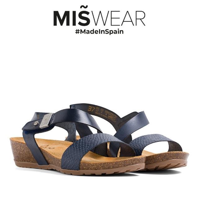 【MISWEAR】Yokono 真皮蛇紋軟木涼鞋-藍