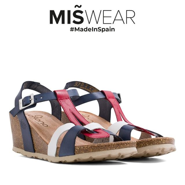 【MISWEAR】Yokono 真皮多色T字楔型涼鞋-藍色