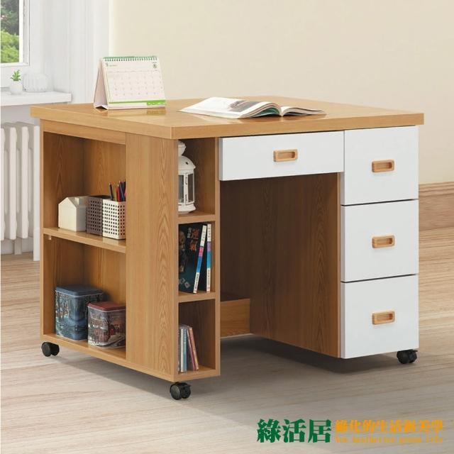 【綠活居】茲辛 現代3.3尺四抽活動書桌(附滑輪)