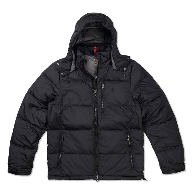 【RALPH LAUREN】Polo Ralph Lauren 年度熱銷防風防潑水可拆式連帽羽絨外套-黑色