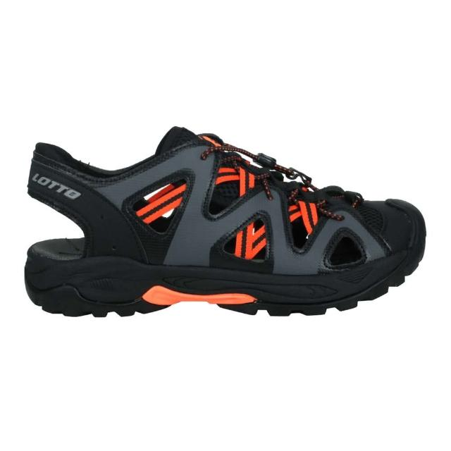 【LOTTO】男排水護趾涼鞋-休閒 健走鞋 水陸鞋 反光 海邊 戲水 黑灰橘(LT1AMS3158)