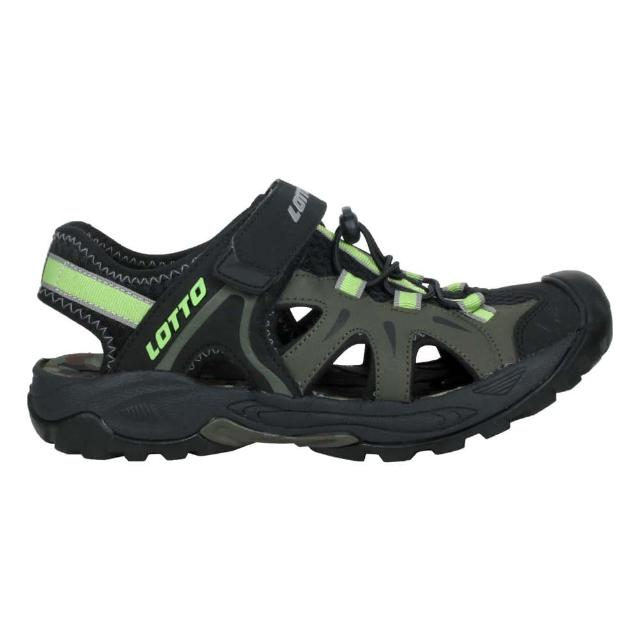 【LOTTO】男冒險家護趾排水涼鞋-休閒 魔鬼氈 健走鞋 水陸鞋 反光 黑綠(LT1AMS3235)