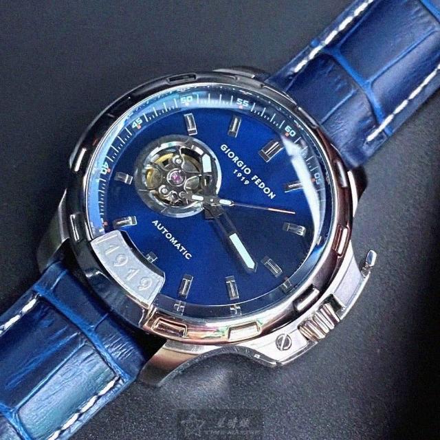 【GIORGIO FEDON 1919】喬治飛登1919男錶型號GF00008(寶藍色錶面銀錶殼寶藍真皮皮革錶帶款)
