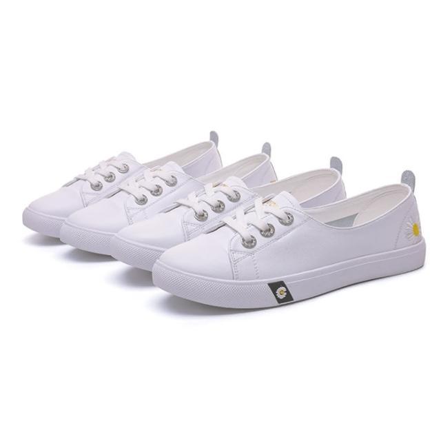 【Taroko】青春之選全真牛皮純白休閒鞋(2款可選)