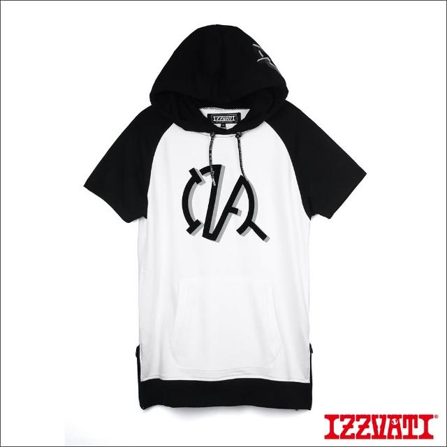 【IZZVATI】側拉鍊長版帽T-黑/白(零碼特價出清)