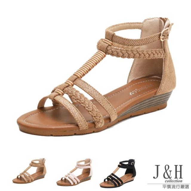 【J&H collection】時尚舒適透氣編織PU軟皮平底涼鞋(現+預 黑色 / 杏色 / 粉色)