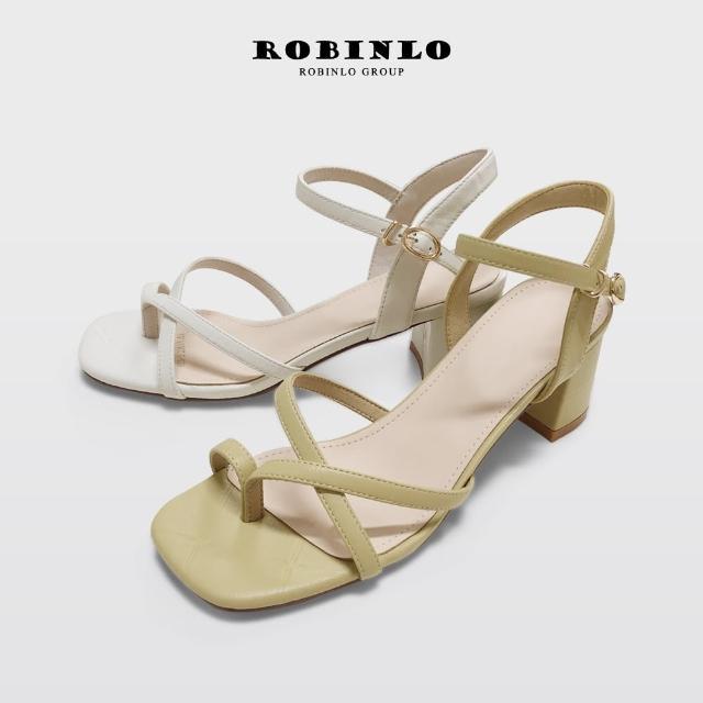 【Robinlo】斜帶趾環繫帶方頭粗高跟涼鞋DAPHNE(米白/黃色)