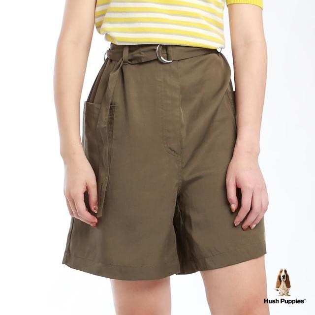 【Hush Puppies】女裝天絲棉後鬆緊腰寬版短褲-附D型環腰帶(軍綠 / 13222102)