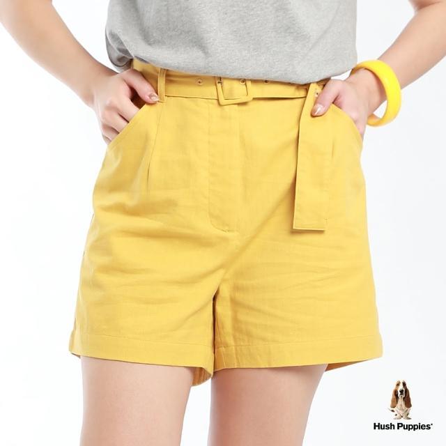【Hush Puppies】女裝素色附腰帶寬口短褲(駱黃 / 13222101)