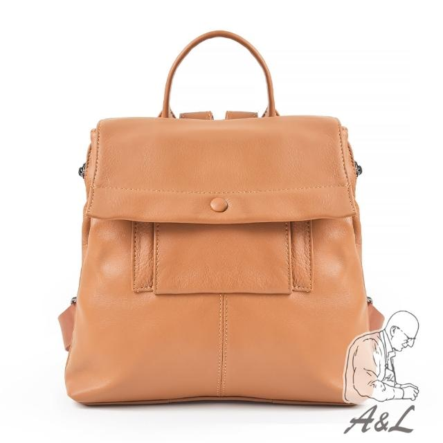 【A&L 老工匠】進口牛皮時尚多層次Silvia後背包(迷人駝)