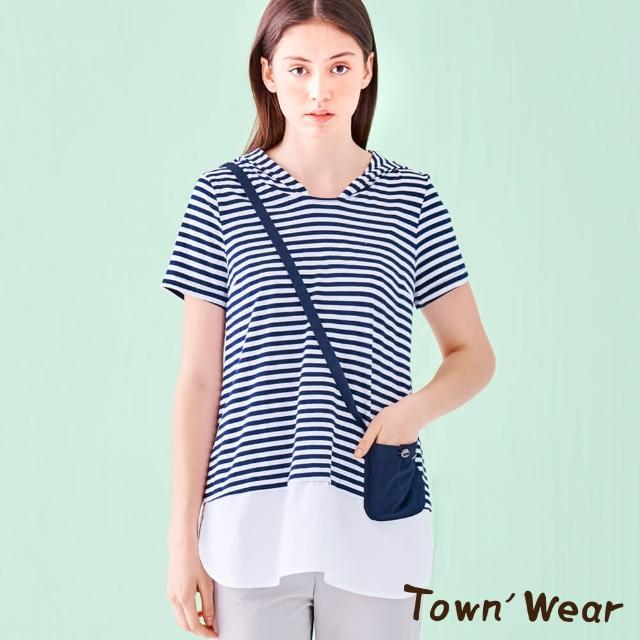【TOWN'WEAR 棠葳】棉質條紋連帽拼接長版上衣