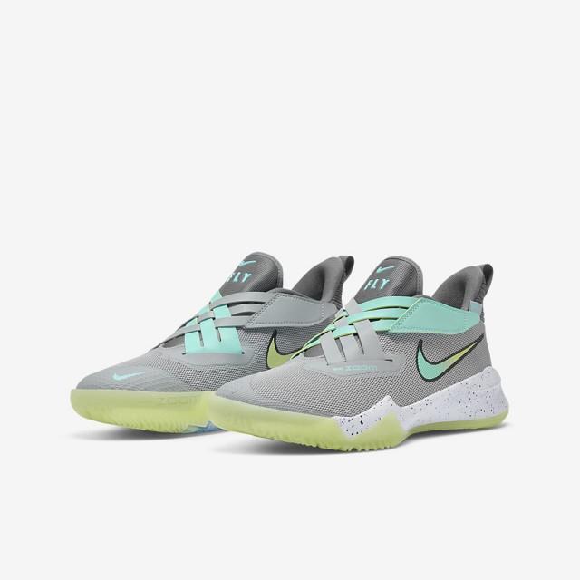 【NIKE 耐吉】NIKE ZOOM FLIGHT 2 男女大童 籃球鞋 灰藍綠(DB6708001)
