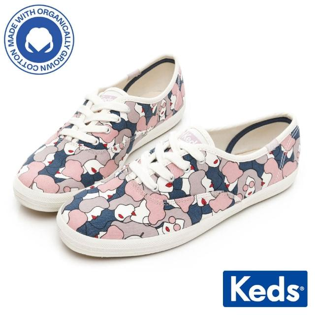 【Keds】CHAMPION 女力風格印花有機棉休閒鞋(淺紫)