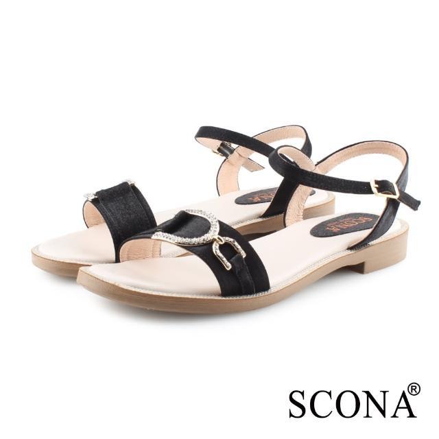 【SCONA 蘇格南】簡約時尚鑽扣涼鞋(黑色 31104-1)