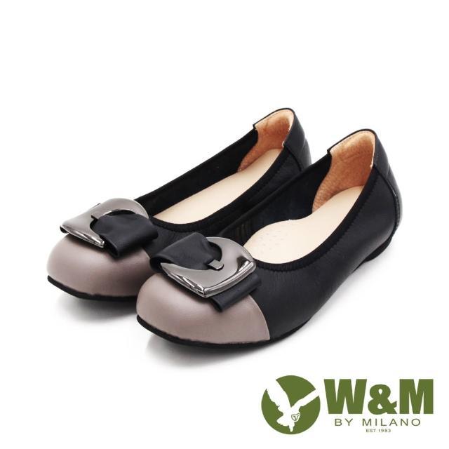 【W&M】女 圓頭拼接方釦淑女平底娃娃鞋 女鞋(灰黑)